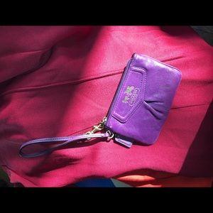 Coach Bags - Coach purple mini wristlet pouch wallet